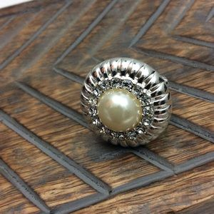 Pearl and Rhinestone Cocktail Ring